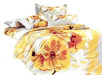Комплект постельного белья 3D Хлопковый Сатин 245 Collection World 2417 Белый, Желтый