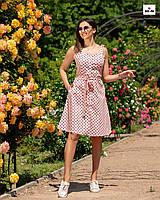 Женский сарафан летний однотонный в розовый горох, фото 1