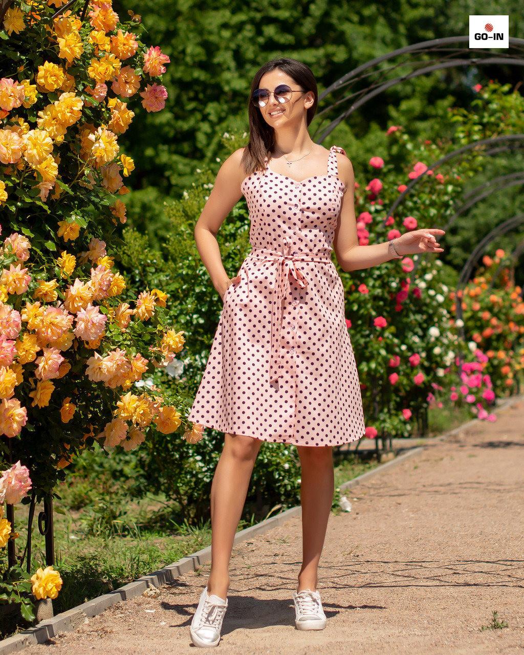 Женский сарафан летний однотонный в розовый горох