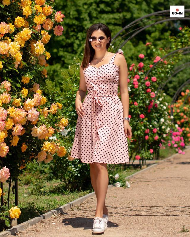 Женский сарафан летний в розовый горох