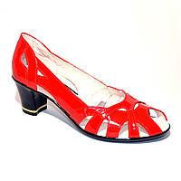 Красные лаковые босоножки женские на каблуке, фото 1