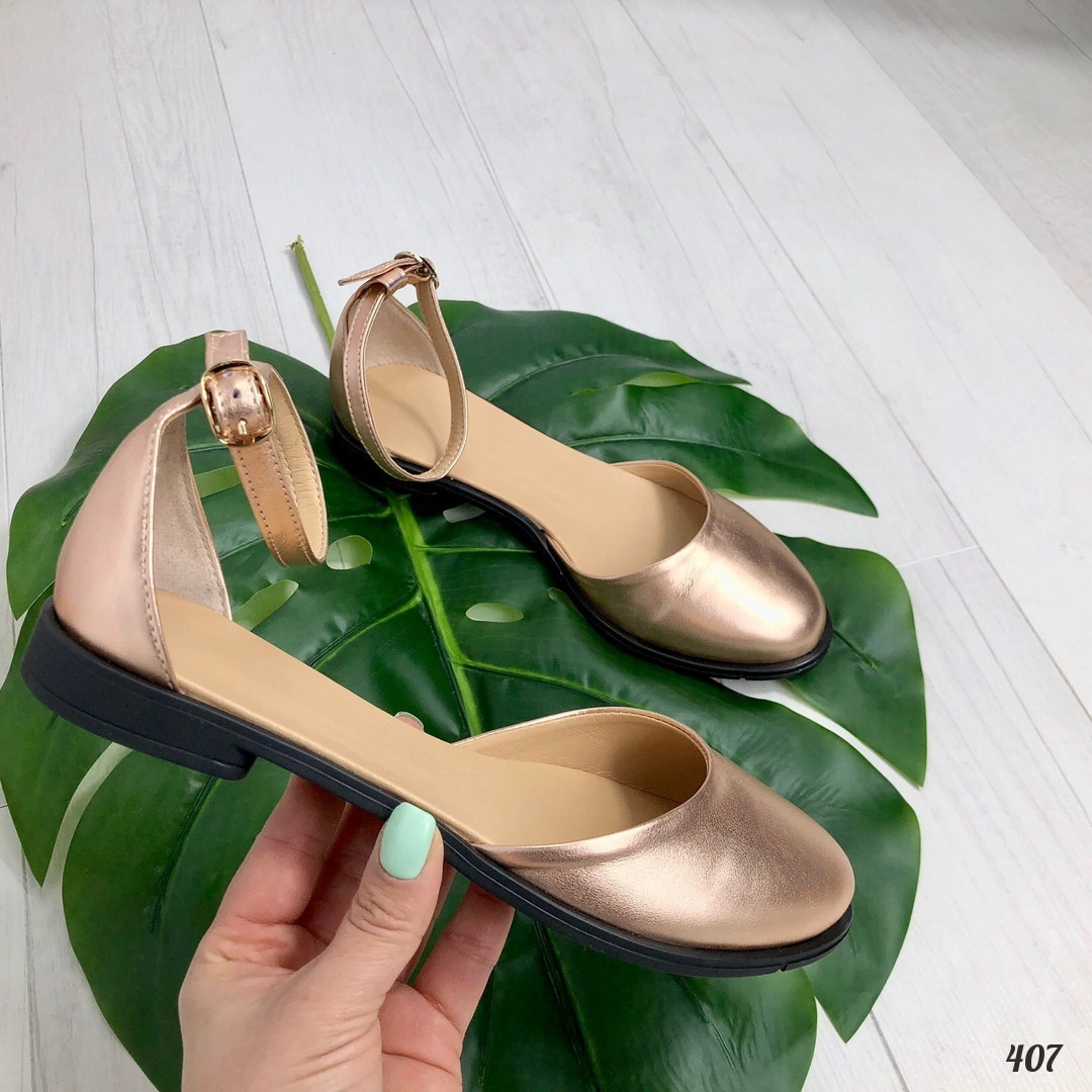 39 р. Туфли женские золотистые кожаные с ремешком на низком ходу, из натуральной кожи,натуральная кожа,летние