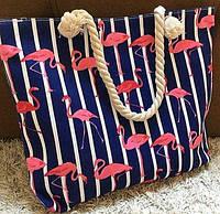 Сумка пляжная большая, канатные ручки, принт Фламинго, фото 1
