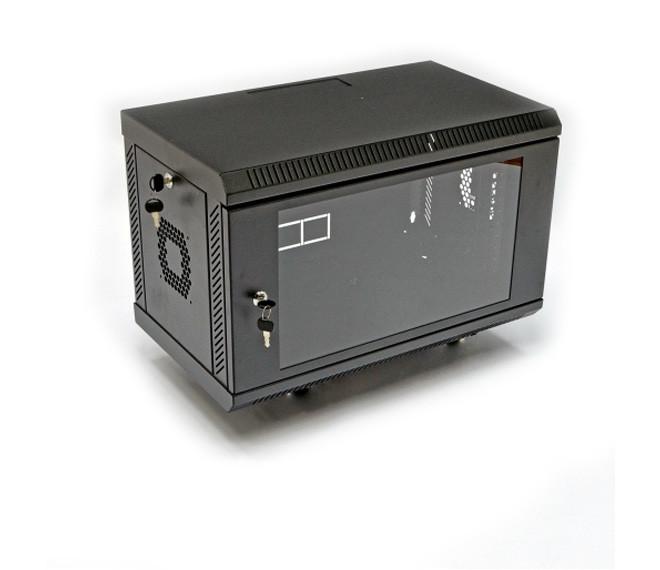 Телекоммуникационный настенный шкаф 6U, 600х500х343 мм (ш*г*в), акриловое стекло, черный