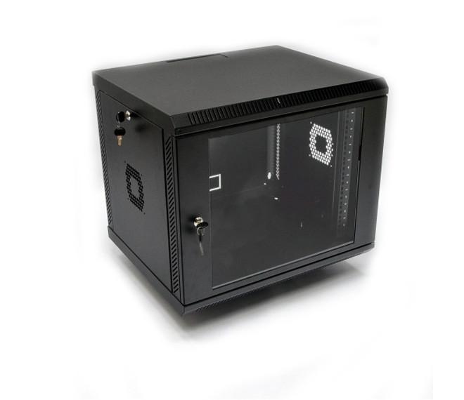 Настенный шкаф 19 дюймов 9U, 600х500х507 мм (ш*г*в), акриловое стекло, черная