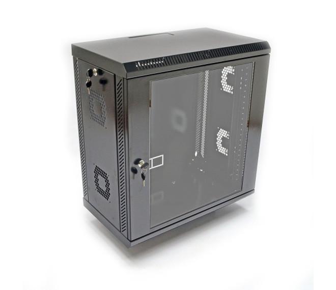 Шкаф телекоммуникационный настенный 12U, 600х350х610 мм (ш*г*в), акриловое стекло, черная