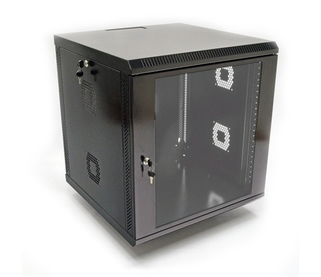 Настенный шкаф 19 дюймов 12U, 600х500х610 мм (ш*г*в), акриловое стекло, черный