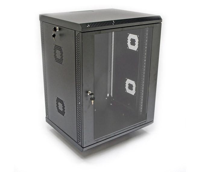 Шкаф настенный для серверов 15U, 600х600х743 мм (ш*г*в), акриловое стекло, черная