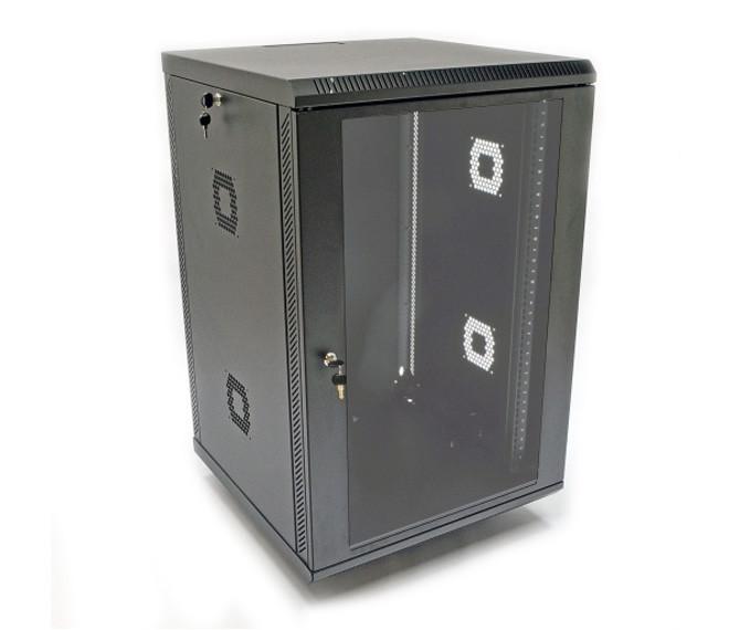 """Серверный шкаф 19"""", 18U, 600х600х876мм (ш*г*в), акриловое стекло, черная"""