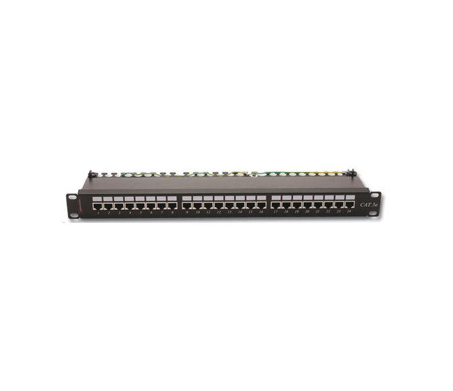 Патч-панель FTP, 24 порта, 1U, кат.5Е, Dual Type IDC, цвет черный