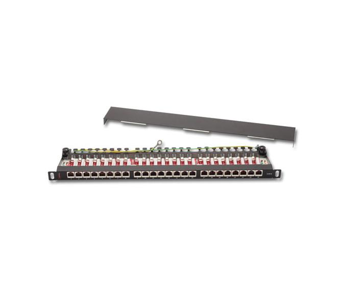 Патч-панель FTP, 24 порта, 0.5U, кат.6, Dual Type IDC, цвет серый (RAL 7035)