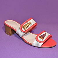 Шлепанцы кожаные на каблуке, коралловый цвет, фото 1