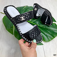 36 р. Шлепки шлепанцы женские черные кожаные на низком ходу, из натуральной кожи, натуральная кожа