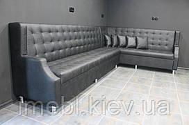 Кутовий шкіряний диван для кафе та ресторанів (Чорний)