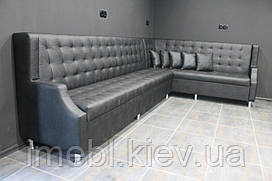 Угловой кожаный диван для кафе и ресторанов (Чёрный)