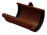 Муфта желоба желоб d=100 мм,труба d=90 мм(белый коричневый)