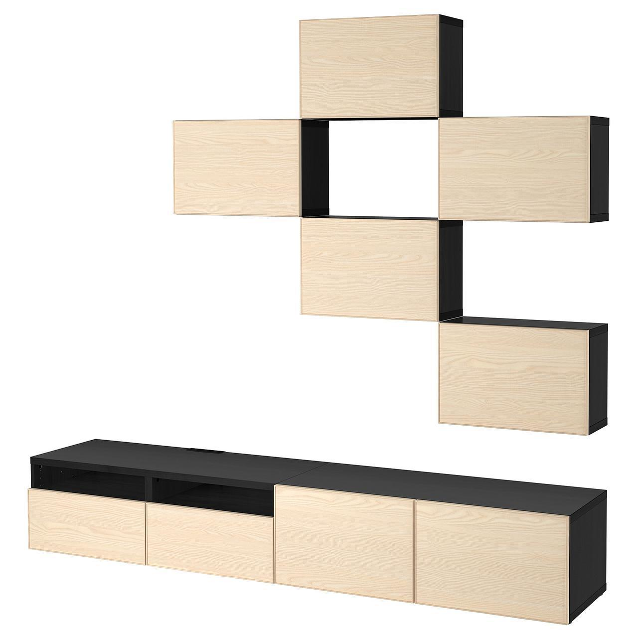 IKEA BESTA Тумба под телевизор, черно-коричневый, Инвикен шпон  (692.074.37)