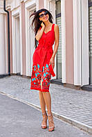 Красное платье футляр из льна длины миди с вышивкой и карманами (S/M, M/L)