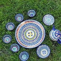 Узбекский чайный сервиз. Узбекская посуда риштан. Традиционный классический чайный сервиз.