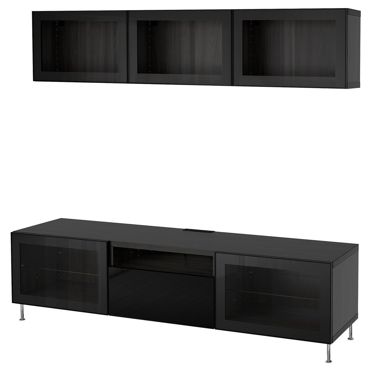 IKEA BESTA Тумба под телевизор с стеклянными дверьми  (592.676.10)