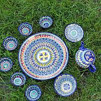Сервиз из керамики 9 предметов Узбекистан. Красивый чайный сервиз ручной работы.