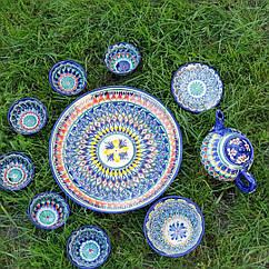 Сервіз з кераміки 10 предметів Узбекистан. Гарний чайний набір ручної роботи.