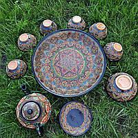 Узбекский сервиз 3D техники, ручной работы из красной глины.
