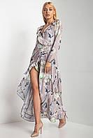 Шелковистое платье PALINA на запАх в цветочный принт с воланами и длинными рукавами