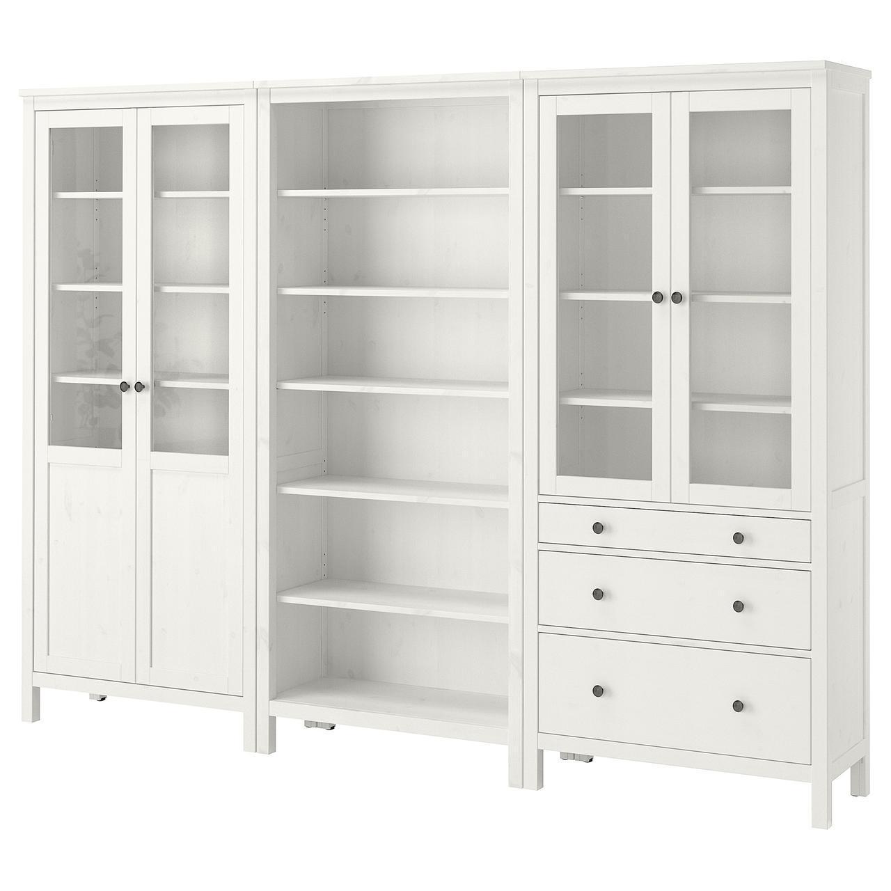 IKEA HEMNES Книжный шкаф с дверями, белая Морилка, стекло  (492.357.66)