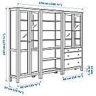IKEA HEMNES Книжный шкаф с дверями, белая Морилка, стекло  (492.357.66), фото 2