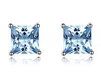 Серебряные серьги  с голубым топазом /ювелирный двор/ качество 100%
