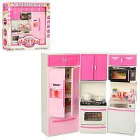 Игровой набор - Мебель Кухня для кукол барби 35х32 см, посуда, продукты, холодильник, звук, свет 6610-19