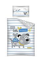 Комплект постельного белья Хлопковый Детский 2822B Detexpol 4045 Белый, Синий, Серый