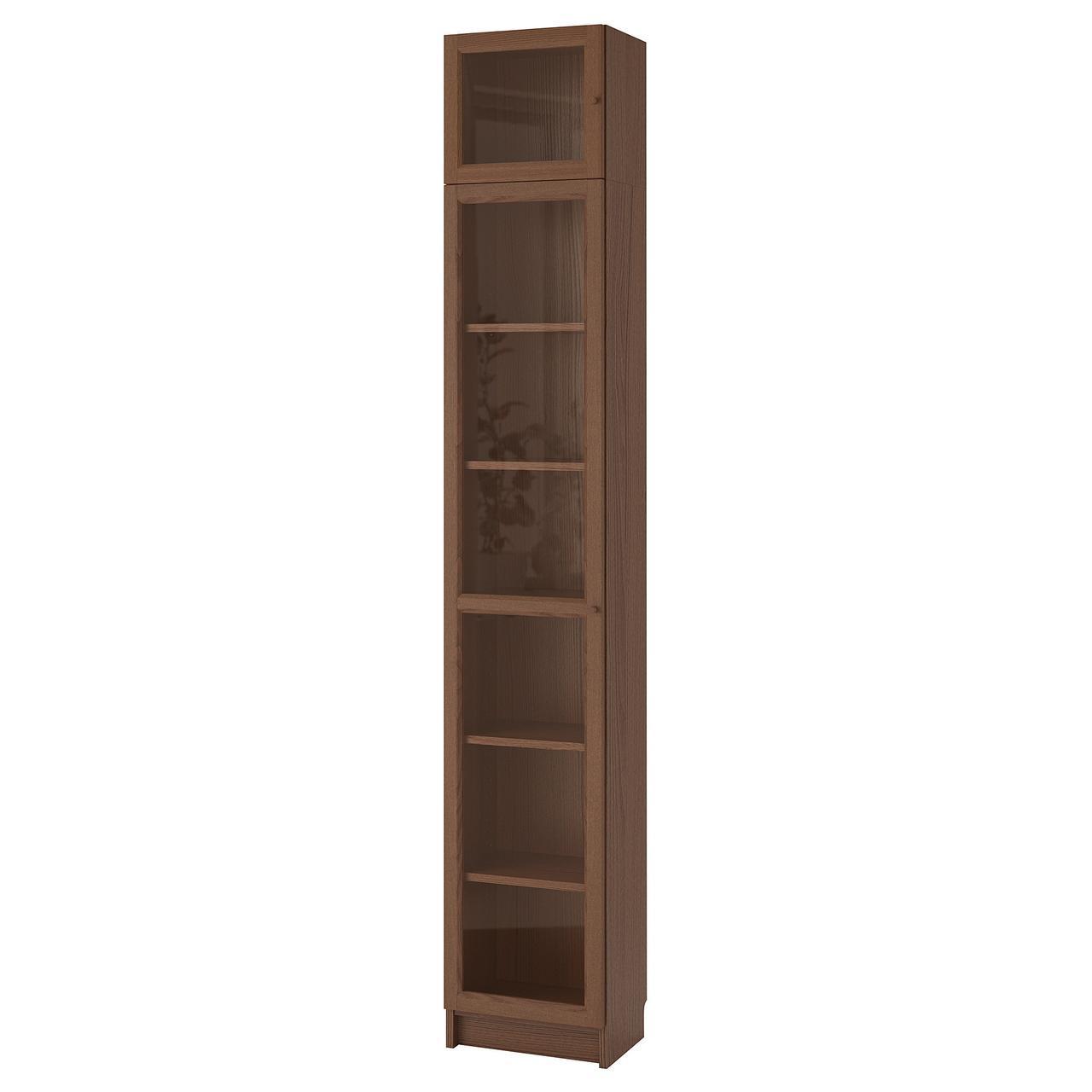 IKEA BILLY/OXBERG Книжный шкаф, коричневый Шпон ясеня, стекло  (992.874.37)