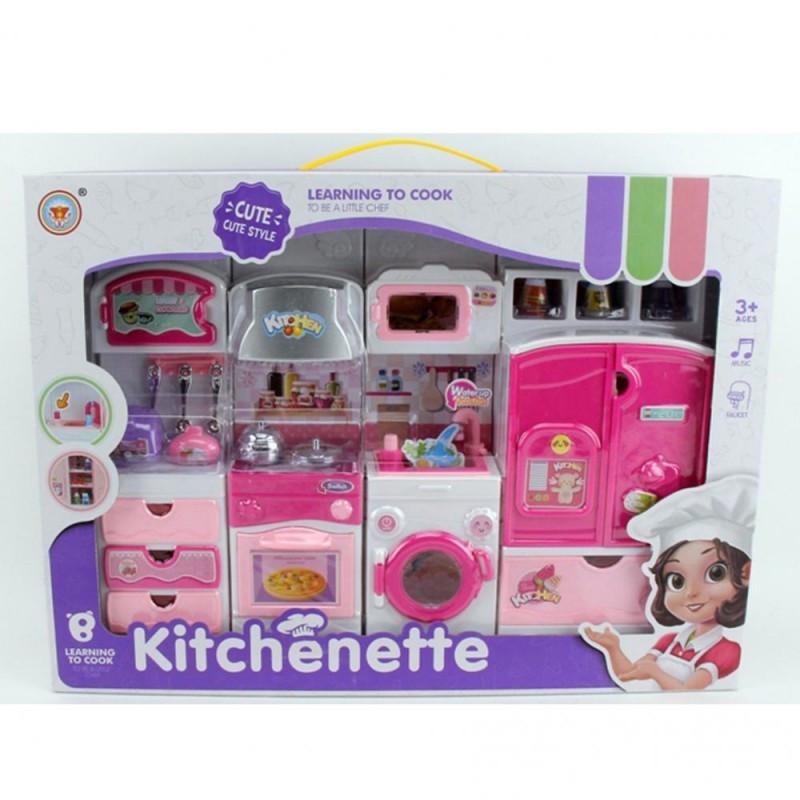 Игровой набор - Мебель Кухня для барби, стиральная машинка, холодильник, посуда, льется вода, V100