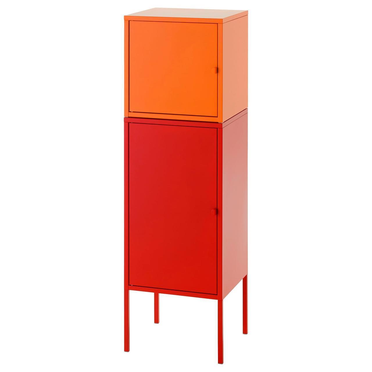 IKEA LIXHULT Шкаф, красный с оранжевым (491.616.09)