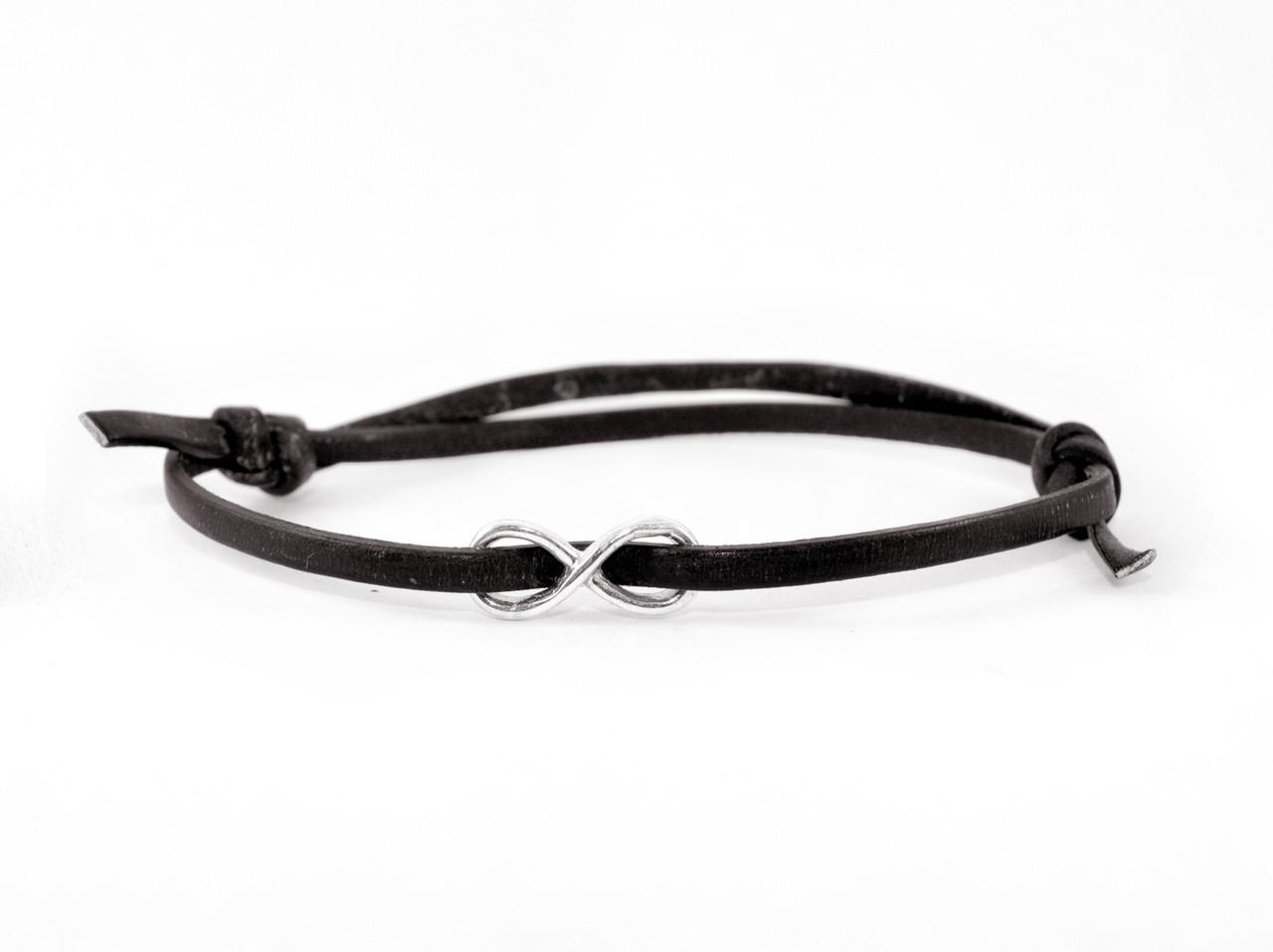 Кожаный браслет с серебром EJ Infinity Black Чёрный