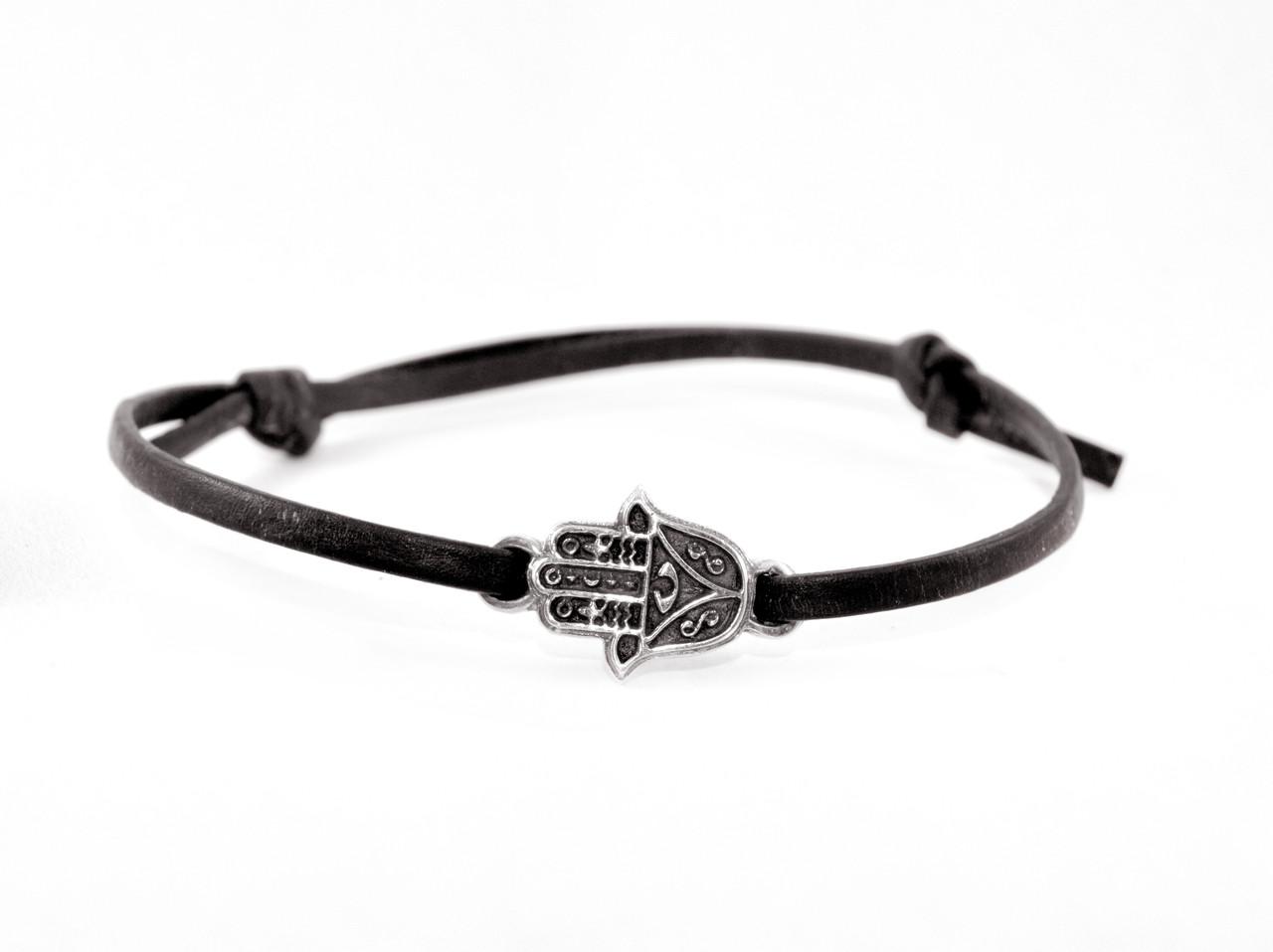 Кожаный браслет с серебром EJ Hamsan Black Чёрный