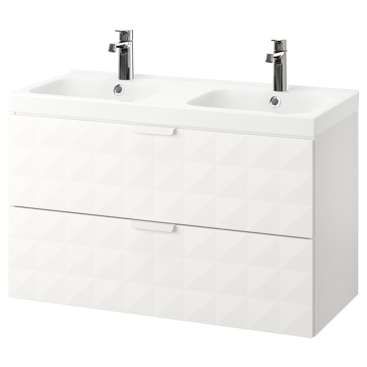 IKEA GODMORGON/ODENSVIK Шкаф под умывальник с раковиной, белый  (992.473.85)