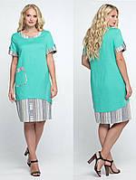 Льняное платье больших размеров прямое батальное женское летнее лен