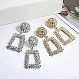 Вінтажні Сережки кульчики вінтажні геометричні висячі сережки геометричні, фото 2