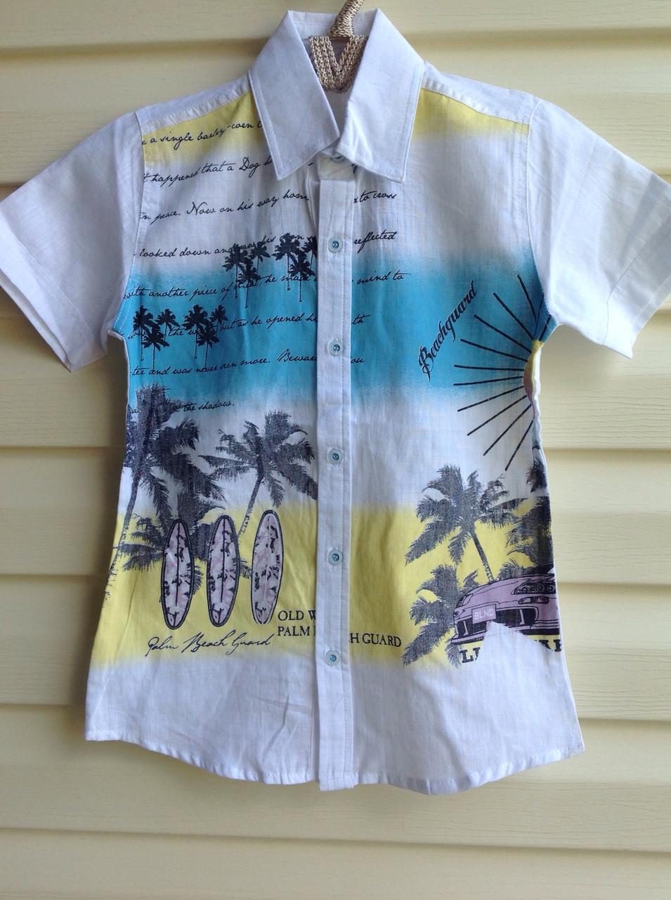 Белая рубашка с короткими рукавами для мальчиков 110,116,128 роста Beach guard