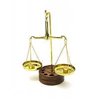Весы бронзовые на деревянной подставке 17х6.5х11 см (DN1578)