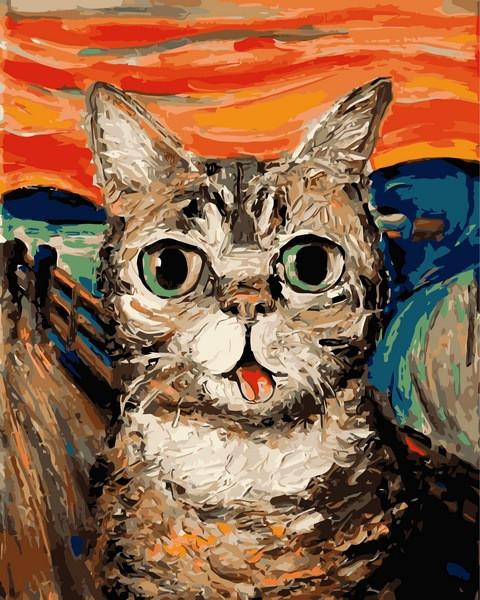 Картина по номерам 40×50 см. Кот в стиле Ван Гога Художник Айя Триер