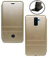 Чехол-книжка для Samsung A6 plus 2018 - A605 iMax экокожа, золотой