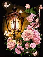 Картина по номерам 30×40 см. Фонарь в розах