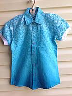 Нарядная рубашка с короткими рукавами для мальчиков Синева