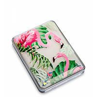Зеркало прямоугольное с плавающими блестками ''Розовый фламинго''  WW-111/2