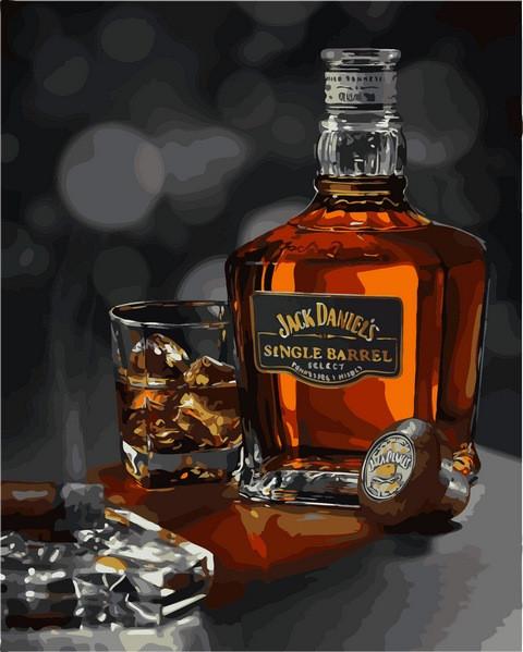 Картина по номерам 40×50 см. Виски Сингл Бэррэл, Джек Дэниэлс