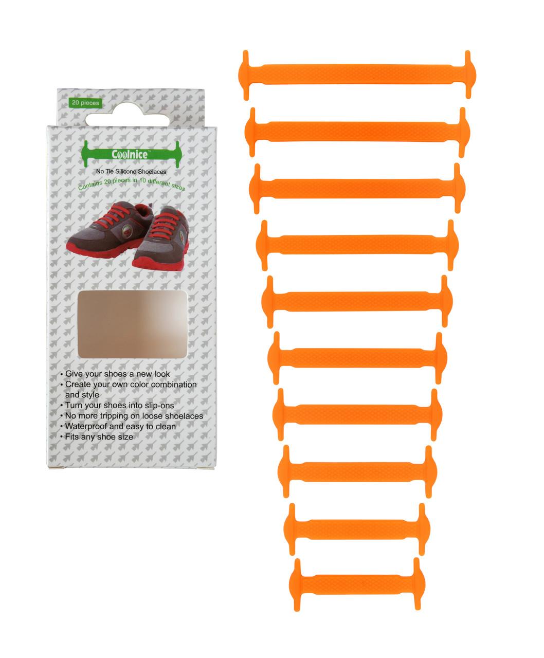 Силиконовые шнурки Coolnice К01 10+10 Оранжевые